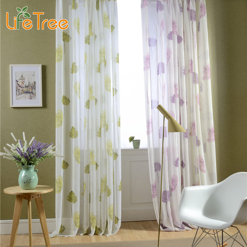 Aliexpress Buy Endless Lotus Printed Voile Curtains For Bedroom Window Sheer Living Room Tulle Villa Length Custom Made 3 Colors From