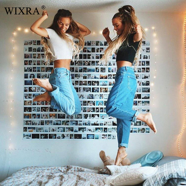 WIXRA Basic Denim Jeans Classic 4 Season Women High Waist Jeans Vintage Mom Style Pencil Jeans High Quality Cowboy Denim Pants