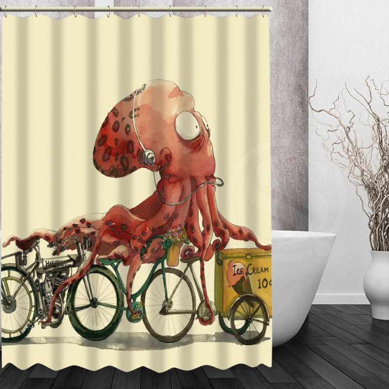 Print Art Vintage Octopus Bath Curtains New Classical Design Bathroom Modern Shower Curtain-in