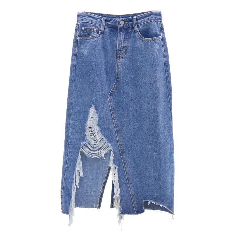 Denim Skirt 2018 Spring Summer Vintage Ripped Hole Denim Skirt Women Slim Office Skirt Sexy Hem Split  A-line Skirt Jeans thumbnail