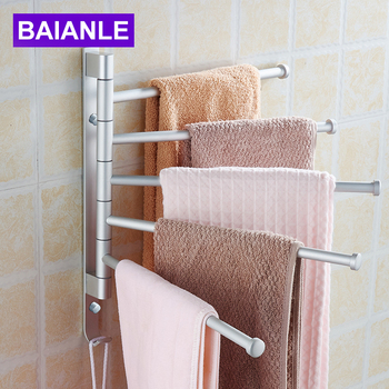 Space Aluminum Towel Bar Active Towel Rack Bathroom Hardware accessories Wall Mount Swivel 5 Arm with Hooks BAIANLE fashion space aluminium towel rack towel bar space aluminum bathroom accessories