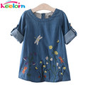Keelorn Girls Denim Dress Children Clothing Casual Style Grils Clothes Butterfly Embroidery Dress Kids Clothes 2017 Spring