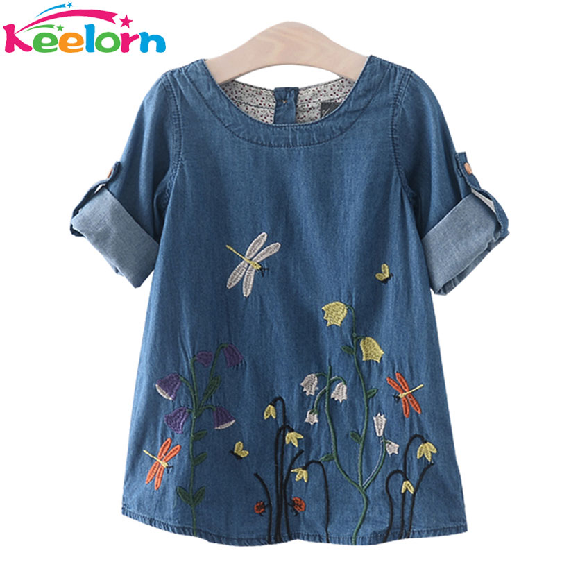Keelorn Girls Denim font b Dress b font Children Clothing Casual Style Girls Clothes Butterfly Embroidery