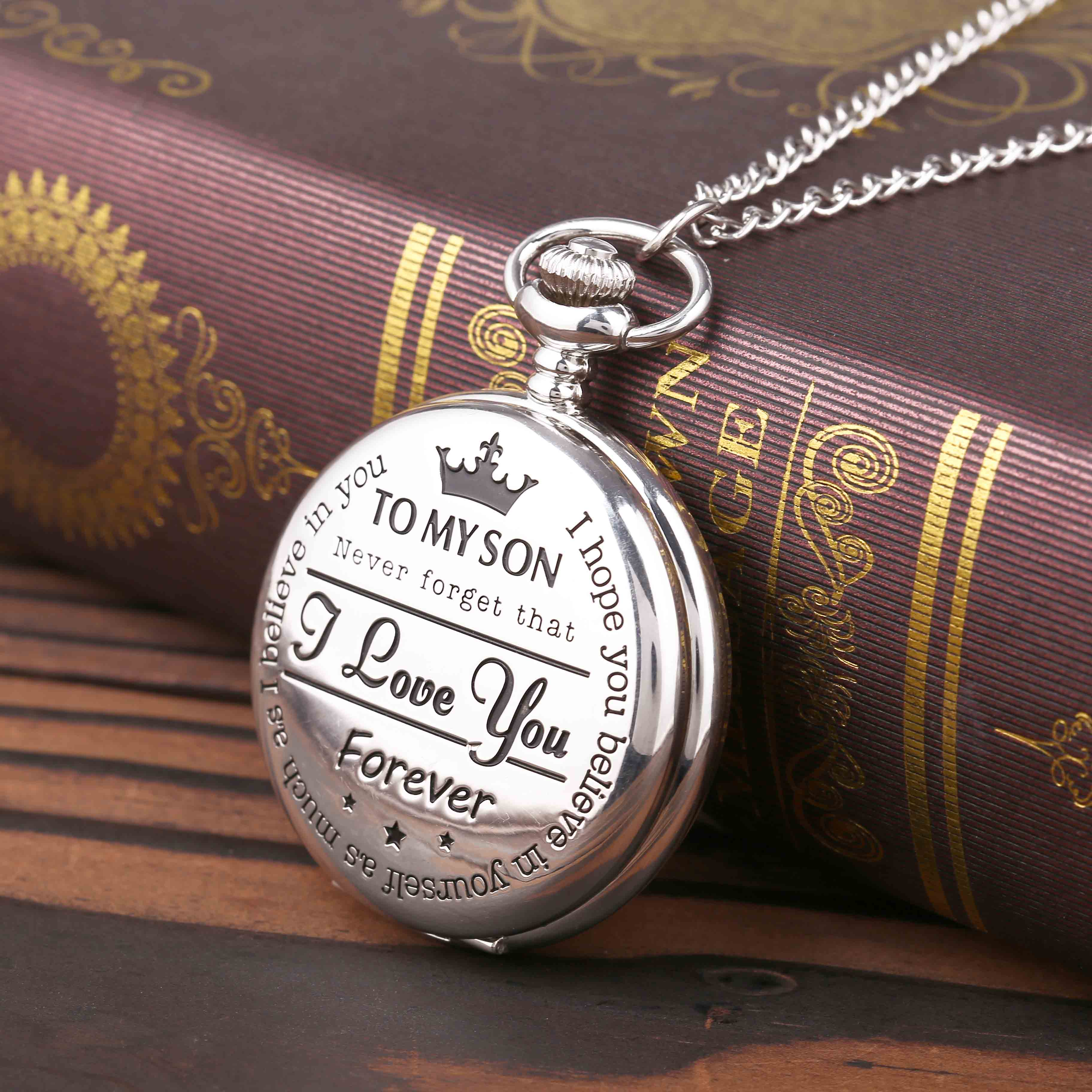 """8809""""To My Son I Love You"""" Series Pocket Watch Retro Roman Digital Pocket Watch Pendant with Chain Shi Ying Pocket Watch Gift 1"""