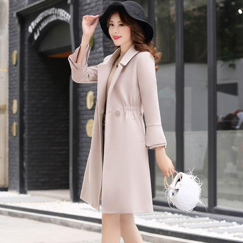Automne femmes rouge mi long manteau de laine 2018 hiver nouvelle mode élégante coréenne décontracté femme tempérament Caramel laine manteau XY179 - 3