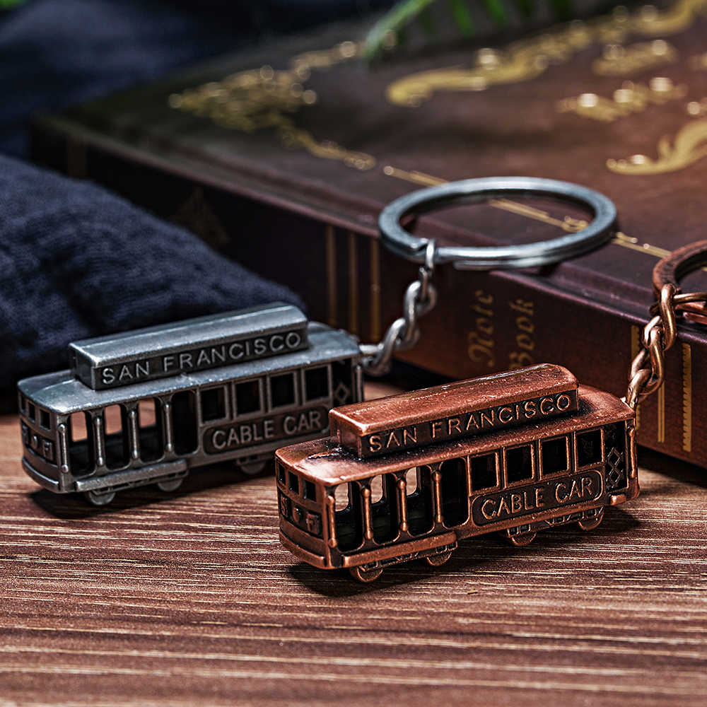 Vicney Newest Vintage SAN Francisco Cable Car Keychain Antique Copper Plated Bus Key chain Souvenirs For Best Friend Keyring Key