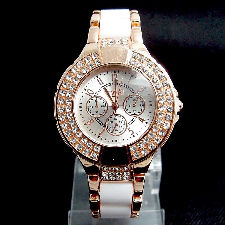 Hot Sales Rose Gold Imitation ceramics Watch Women Ladies Fashion Crystal Dress Quartz Wristwatches Relogio Feminino TW036