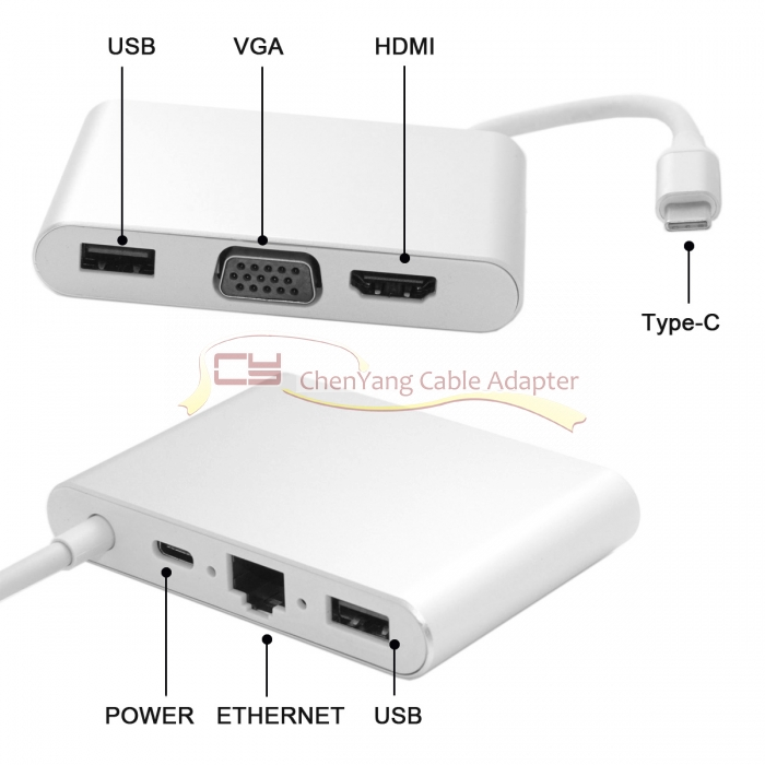 USB-C USB 3.1 Type C to HDMI & VGA & USB HUB OTG & Ethnernet & PD Charger Dock Adapter for Laptop marsnask new arrival usb type c to vga hdmi usb 3 0 hub cable adapter pd charger for macbook