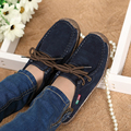2016 spring women genuine leather shoes woman Hand-sewn suede leather flats cowhide flexible boat shoes women loafer plus size
