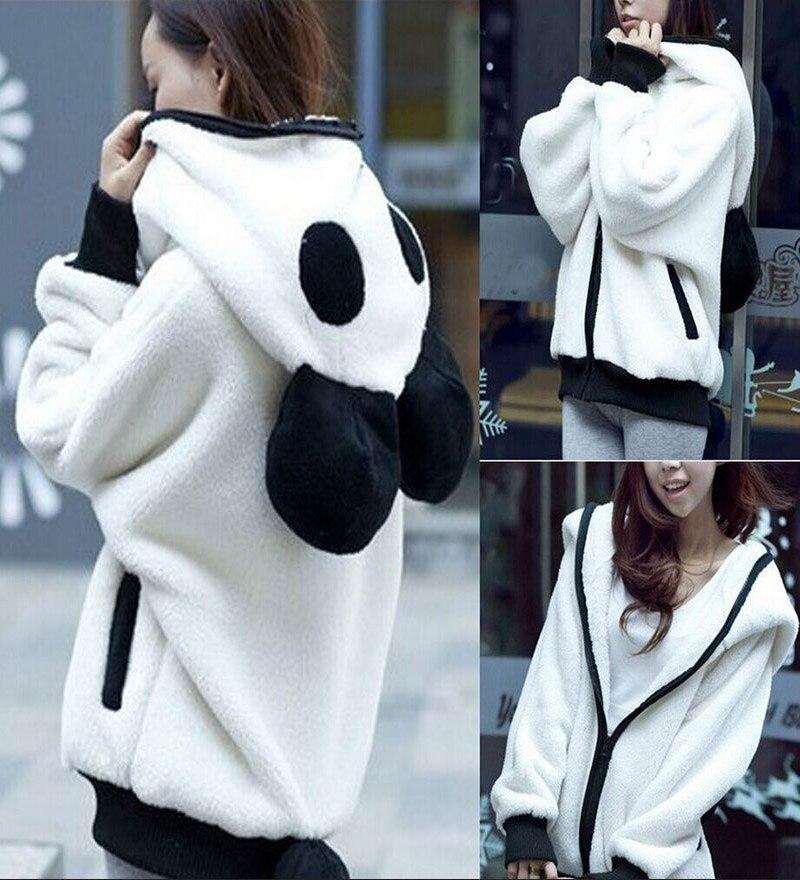 Zogaa 2019 Hot Sale Creative Design Cute Bear Ear Panda Shape Winter Warm Hoodie Coat Zipper Fleece Women Hooded Jacket