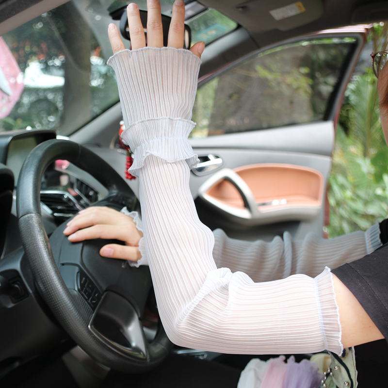 Summer Sun Protection Sleeve Gloves Female Long Thin Anti-ultraviolet Ice Silk Driving Arm Sleeves Lady Breathable Mittens H3120