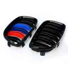 1 пара решетка для BMW 1 серия E81 E87 08-11 глянец Черный автомобиль передний центр Широкий почечный гриль гоночный гриль автомобиль-Стайлинг 8P