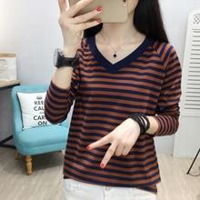 цена на shintimes T-Shirt Ladies Long Sleeve Tee Shirt Femme V Neck Striped T Shirt Women Cotton 2019 Top Korean Fashion Womens Clothing