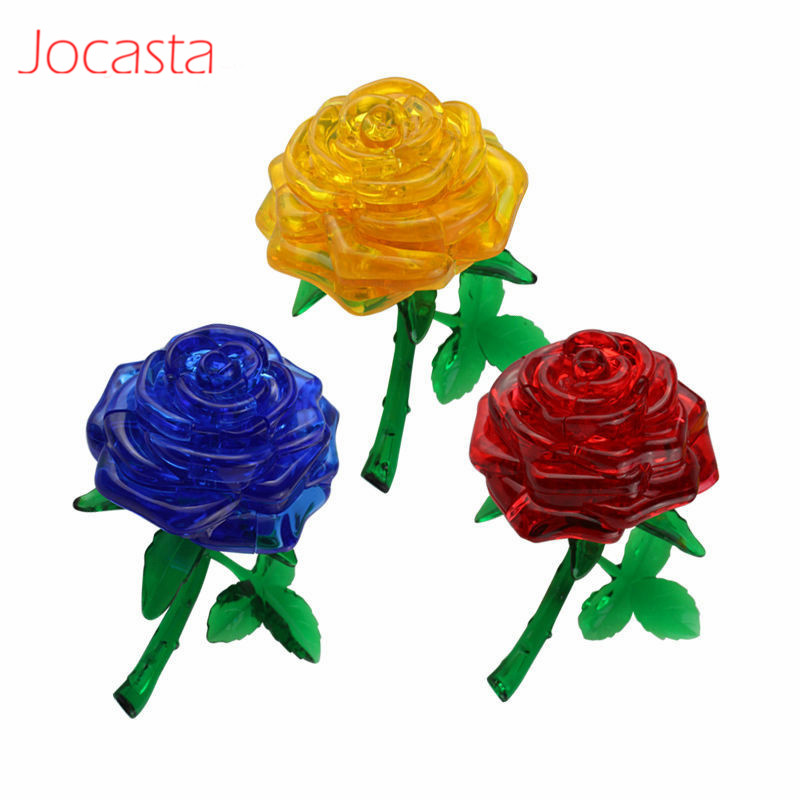 Rose Puzzle 3D Crystal Puzzle Toys Jigsaw Model DIY Beautiful Craft Toy Flower Puzzle Furnish Gift Educational Toys For Kids [