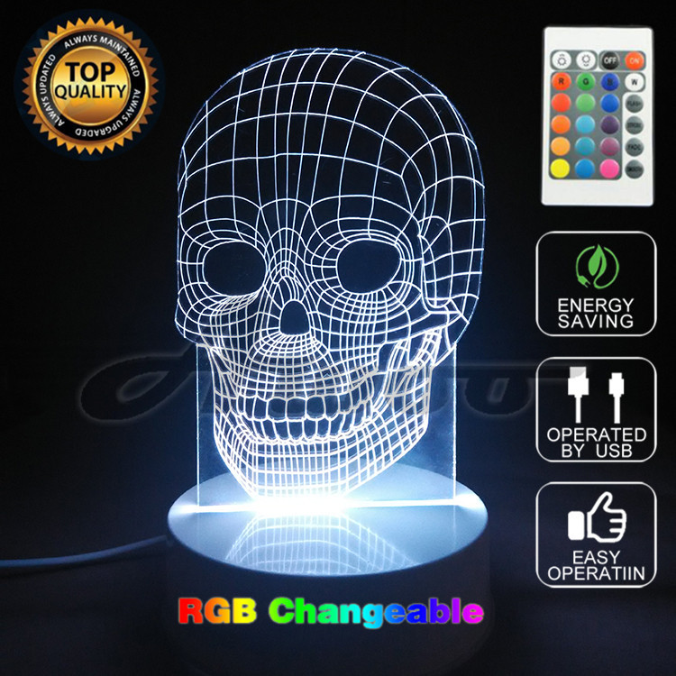3D LED Color Night Ligh Changing Lamp Punisher Skull Multi-colored Bulbing Light Acrylic Halloween Hologram Illusion Desk Lamp F touching color changing 3d illusion fish led night light