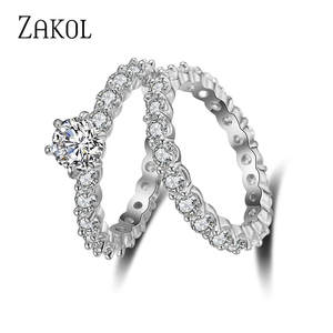 ZAKOL 2 pcs Wedding Jewelry Engagement Ring For Women