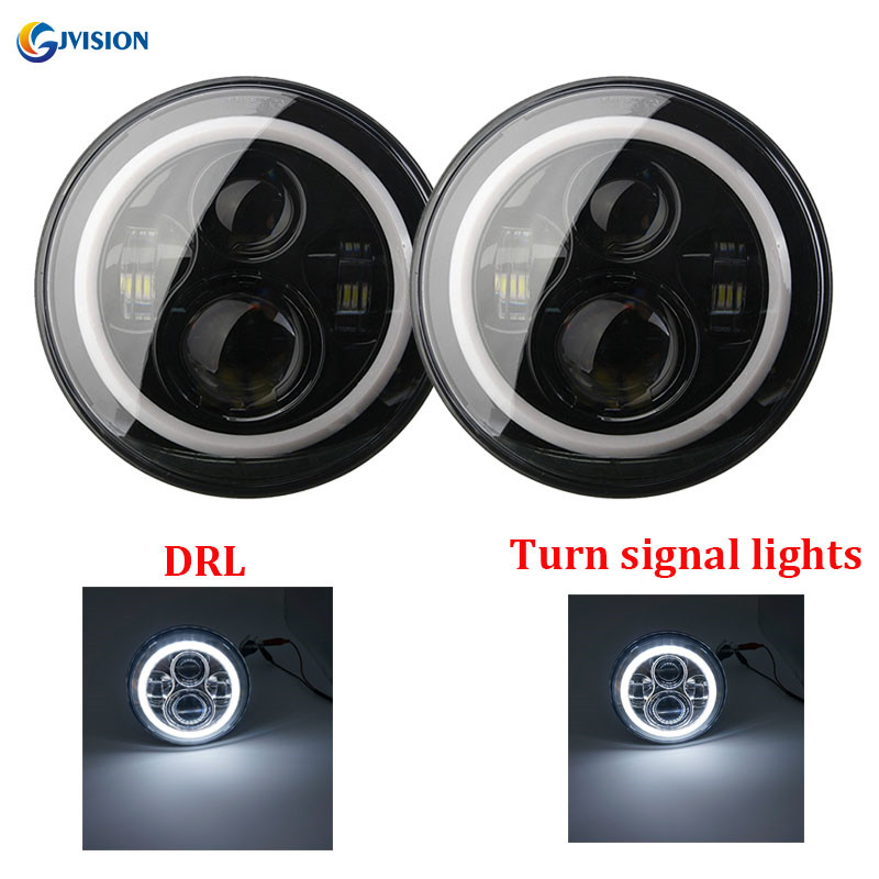 Black 7 inch H4 led headlight 7 daymaker projector headlamp White DRL Halo ring for Jeep Wrangler Hummer Land rover defender