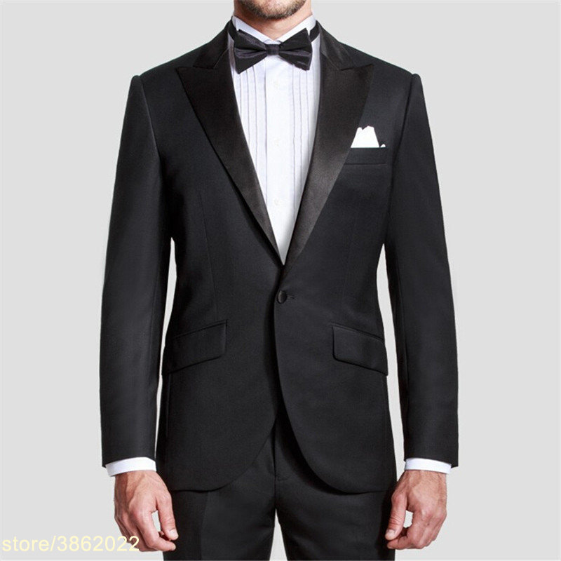 Custom Made Handmade Black Mens Suit Groom Tuxedos Wedding Suits Formal Business Suits Party Suits Blazers+Pants