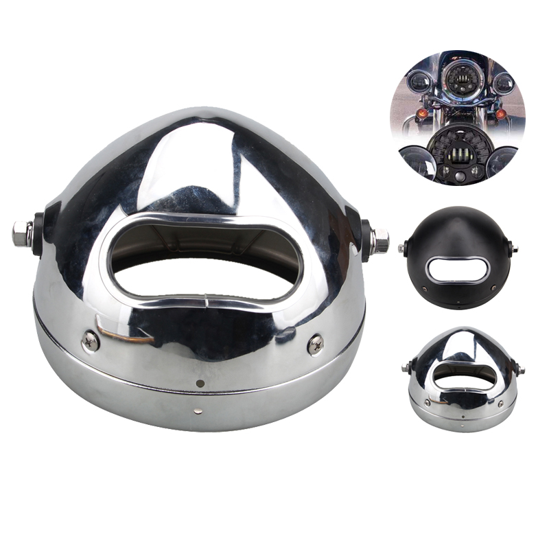 5.75 Inch 5 3/4 Motorcycle LED Headlight Outer Cover Housing Bracket Silver or Black stainless steel