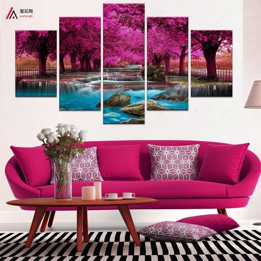 5 Obývací pokoj pro panelové nástěnné malby Umění Vodopád Malba na plátně Modulární obrazy Posters a obrazy Obrazy Cuadros F1867