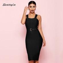 Seamyla 2019 新包帯ドレス女性ノースリーブセレブパーティードレスセクシーなワイン赤、黒アプリコット vestido 夜クラブドレス