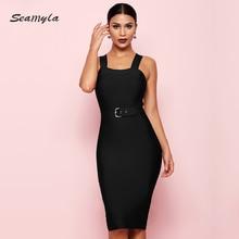 Seamyla 2020 yeni bandaj elbise kadın kolsuz ünlü parti elbiseler seksi şarap kırmızı siyah kayısı Vestido gece kulübü elbise