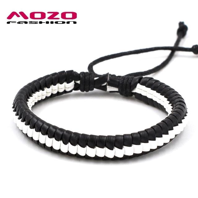 Mozo Fashion Uni Hand Bracelet Leather Rope Adjule Handmade Bracelets Men Women Casual Jewelry