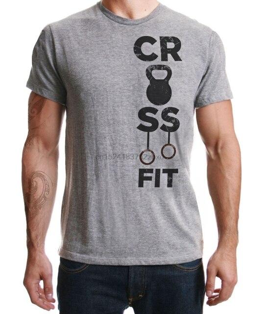 cd5ba8dc0af O Treinamento Funcional WOD Crossfit Fitness Treino de Força Grey T Shirt  Dos Homens de Mangas