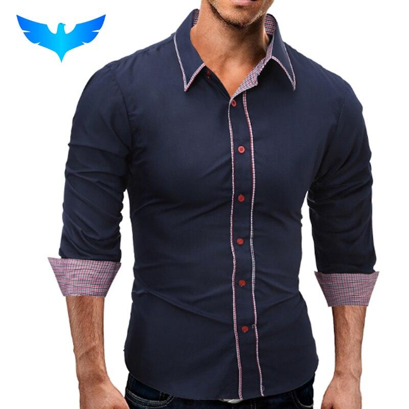 5266f5cfc74dbd Beste Koop QINGYU Merk 2018 Mode Mannelijke Shirt Lange Mouwen Tops  Eenvoudige Effen kleur Hit Kleur Side Heren Overhemden Slanke Mannen Shirt 3XL  Goedkoop