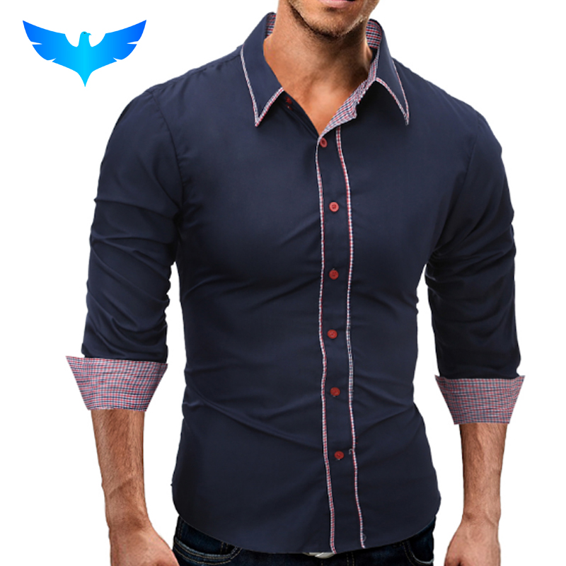 QINGYUBrand 2017 Fashion Male Shirt Long Sleeves Tops Simple Solid Color Hit Color Side Mens Dress