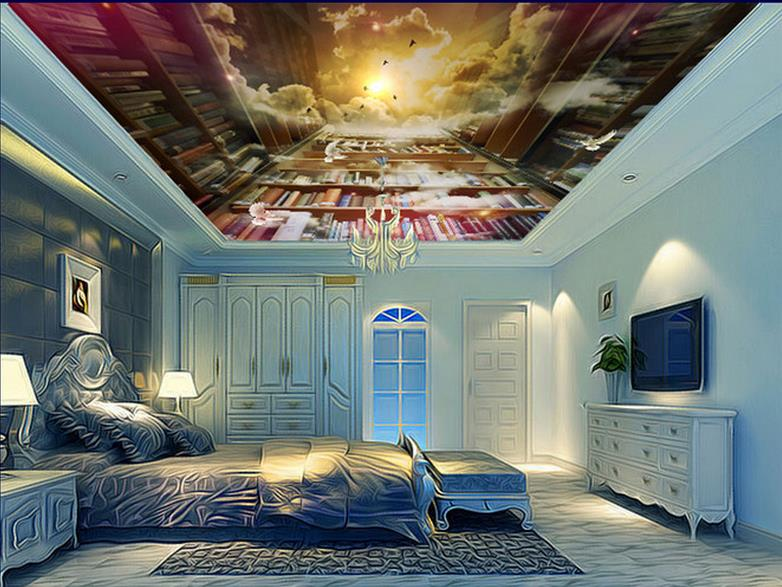 custom 3d ceiling photo Dream Bookshelf 3d wallpaper on the ceiling luxury wallpaper 3d ceiling murals for living room custom 3d ceiling wallpaper white polygon brick wall wallpaper for walls 3 d ceiling murals wallpapers for living room