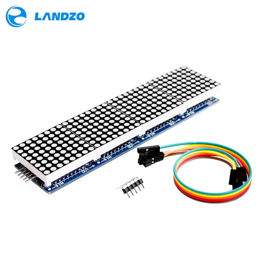 LANDZO Electronic Technology Co.,Ltd MAX7219 Dot Matrix Module For Arduino Microcontroller 4 In One Display with 5P Line
