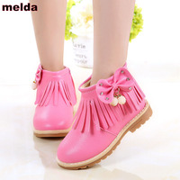 21 30 Fashion Fringe Winter Boots Girls Ankle Boots Children Autumn Shoes Solid Butterfly Bead Kids