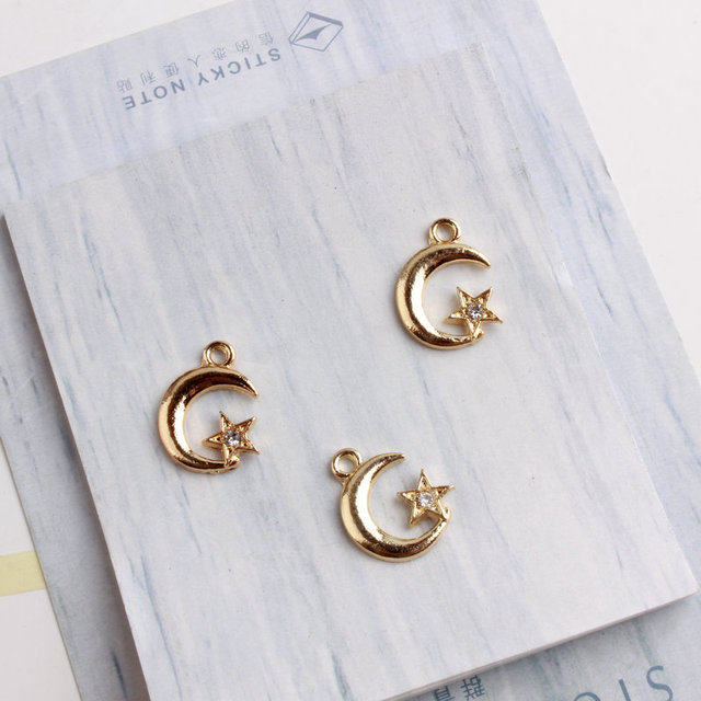 30PCS/Lot New Arrival Fashion Jewelry Gold Color Tone Moon&Star With Rhinestone Charm For DIY Jewelry Making Earring Accessories
