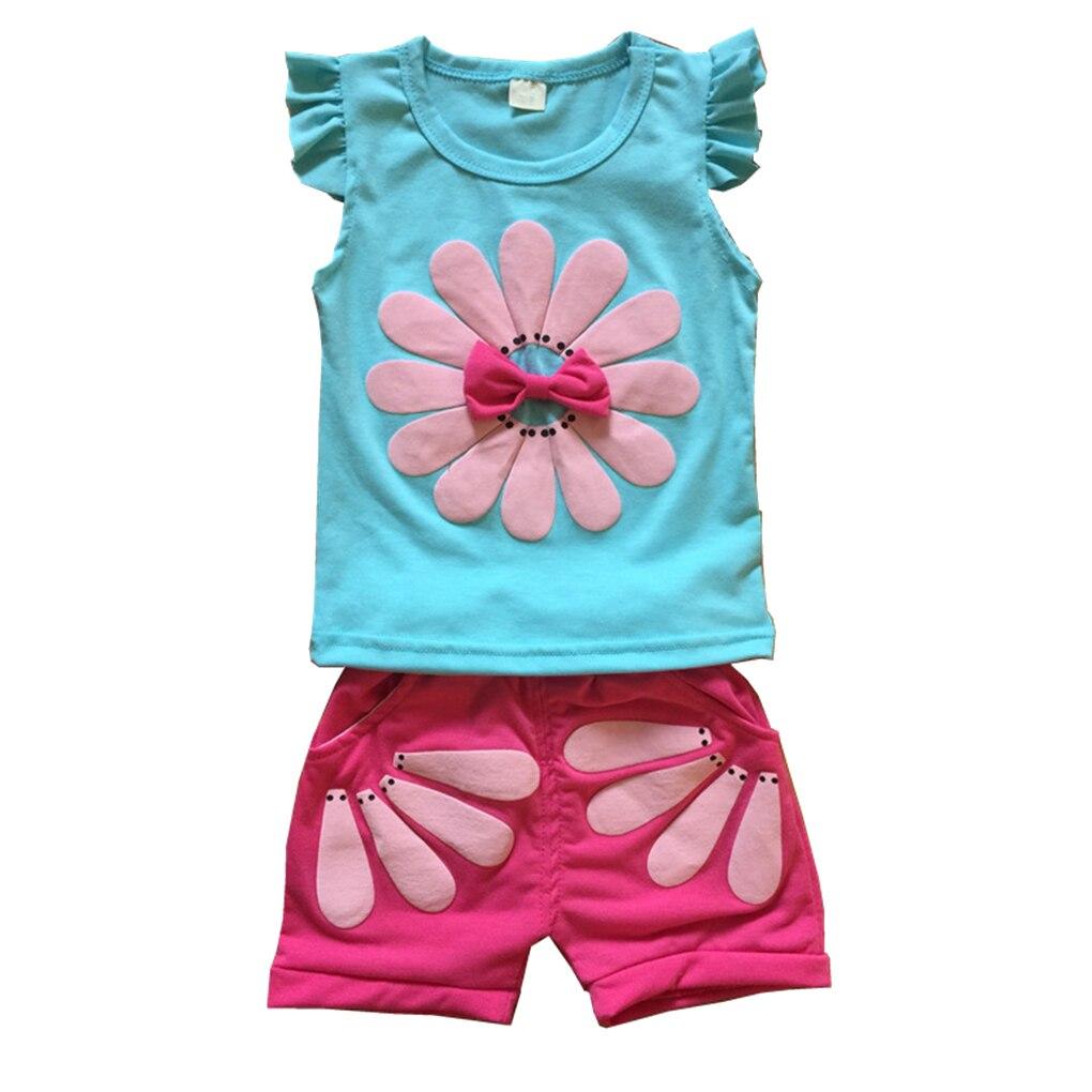 2018 new summer children clothing set baby girls bow cat shirt + shorts suit 2pcs kids polka dot clothes suit Summer Kids Baby