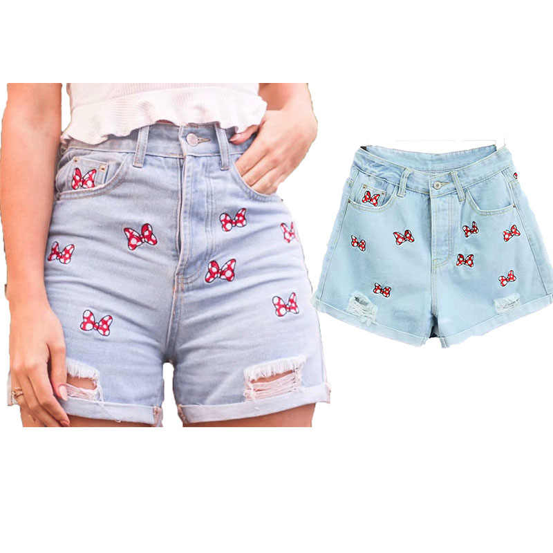 810ef3015f 2019 New Shorts Women High Street Vintage Mickey Mouse Bow Embroidery Short  Feminino Women Plus Size