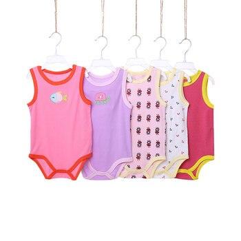 [5 pçs/lote Cor Aleatória] Dos Desenhos Animados Bodysuit Bebê Sem Mangas de Algodão Do Bebê Roupas de Menina de Verão Infantis Meninos Bodysuits Macacões Recém-nascidos