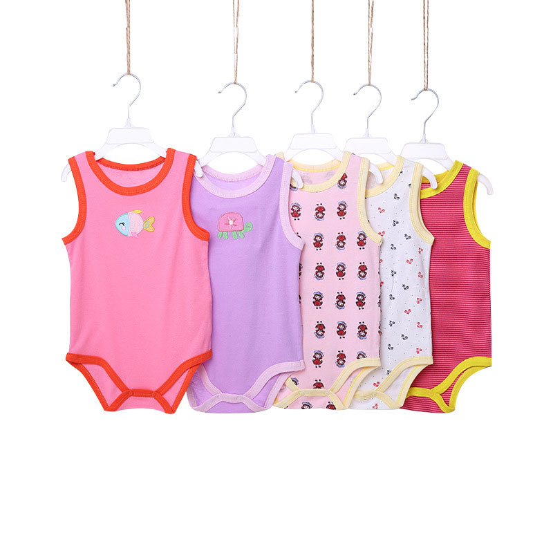 [5Pcs/lot Random Color] Cartoon Baby Bodysuit Cotton Sleeveless Baby Girl Clothes Summer Infant Boys Bodysuits Newborn Jumpsuits