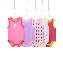 [5Pcs/lot Random Color] Cartoon Baby Bodysuit Cotton Sleeveless Baby Girl Clothes Summer Infant Boys Bodysuits Newborn Jumpsuits(China)