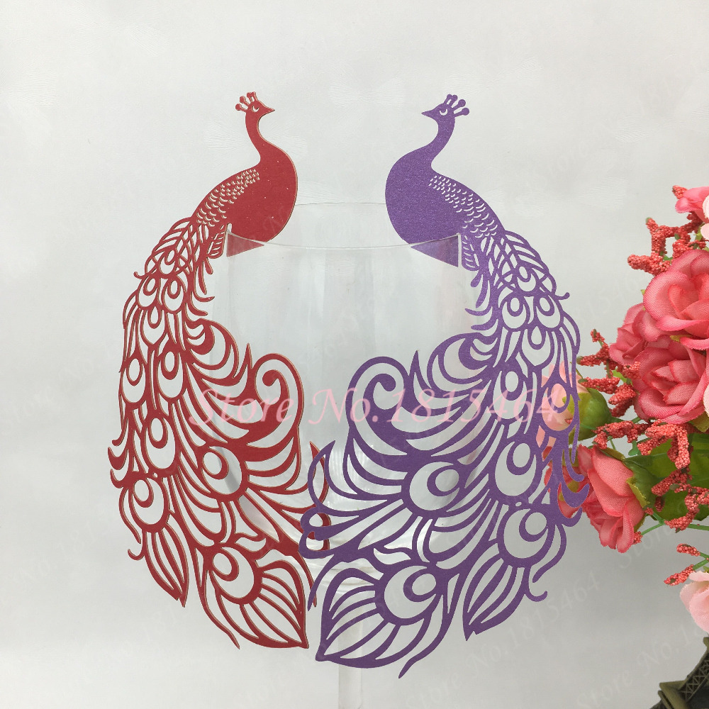 50pcs Laser Cut Hollow Out Paper Peacock Wedding Decorations Place Name Cards Elegant Wine Glass Cards Party Supplies