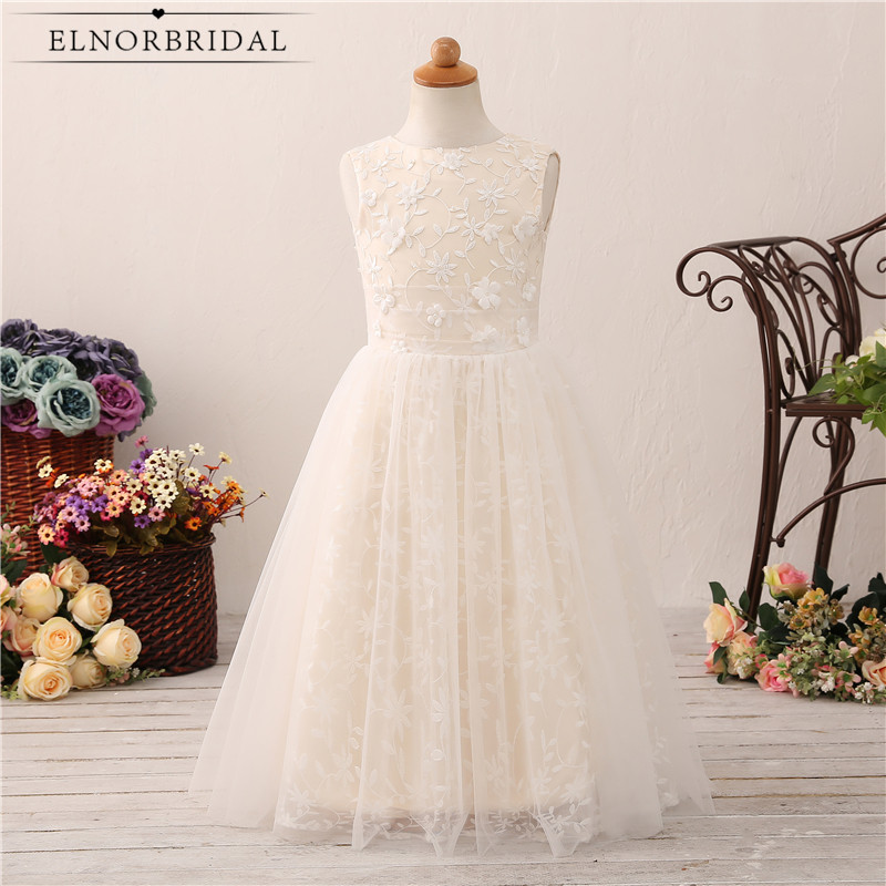 Light Champagne   Flower     Girls     Dresses   2018 A Line Lace First Communion   Dress   Vestidos Daminha De Casamento Wedding Party Gowns