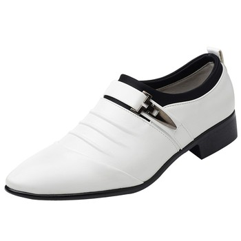 Slip On Split Leather Pointed Toe Mens Dress Shoes