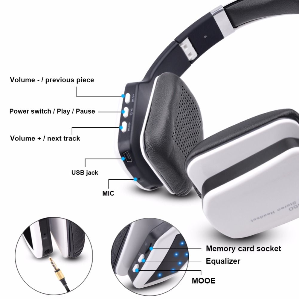ihens5 wireless bluetooth Headset foldable sport wireless headphones with built in MP3 player fm receiver SD card mic for phone 9