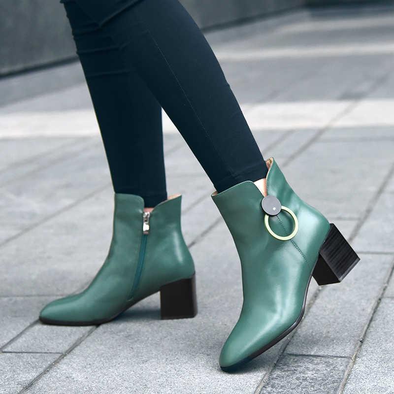 2019 חדש נשים של עור אמיתי נעלי עקבים בלוק נשים Zip קרסול מגפי רך גומי מגפי חורף נשי מגפי צ 'לסי אופנה