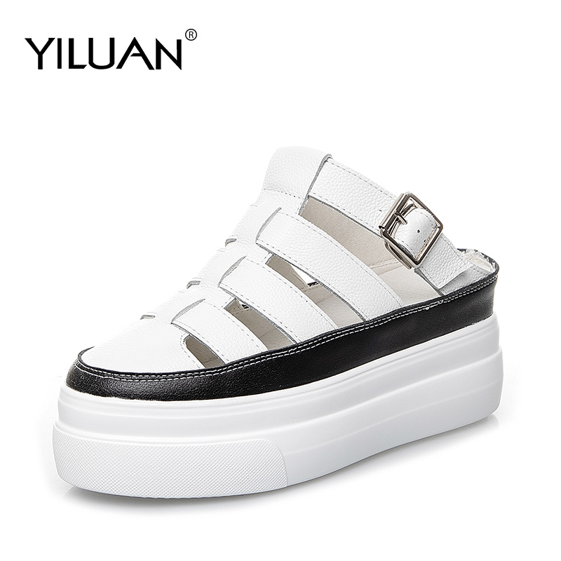 Yiluan 2019 New Women Summer Slippers Heels Pumps Genuine Leather Shoes Woman Sandals Round Toe Ladies