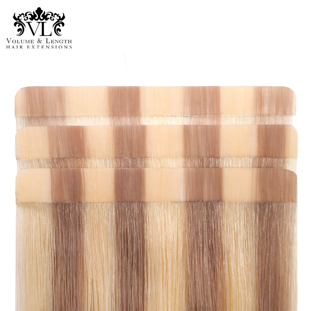 VL ленты в 2,5 году г/шт. 18 Реми 100% Пряди человеческих волос для наращивания прямые Ash с легким блондинка бесшовные уток волос 20 штук/ pac VL19T18