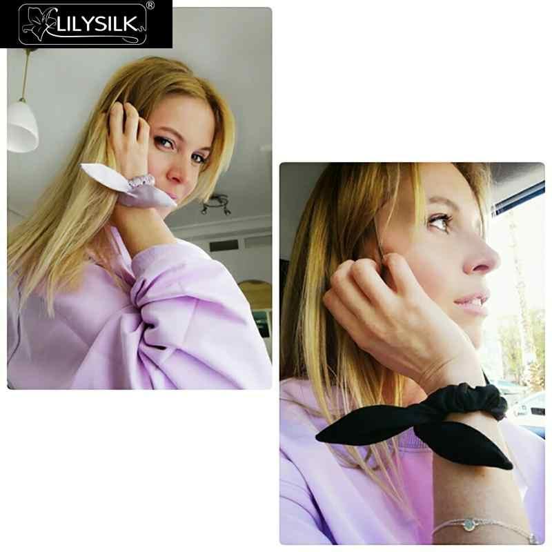 LilySilk Hairband Scrunchy con Orecchie di Coniglio Charmeuse Donne 100 Pura Seta Testa Corda di Gomma Della Ragazza Accessori di Cura Morbido di Lusso