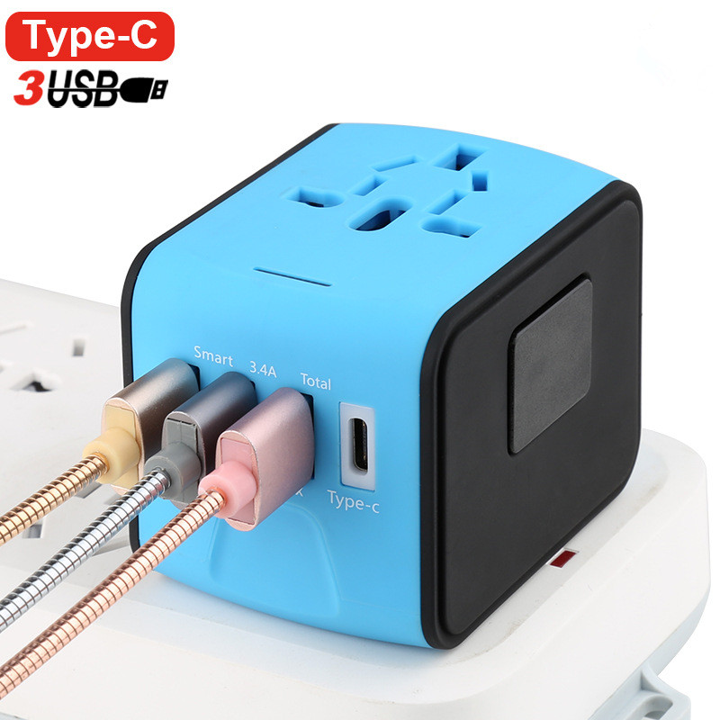 Universal Travel Adapter AC Power US Euro UK AU International Adaptor 3 USB+1Type C World Worldwide USB Plug Socket Converter all in one universal international plug adapter 2 usb port world travel ac power charger adaptor with au us uk eu converter plug