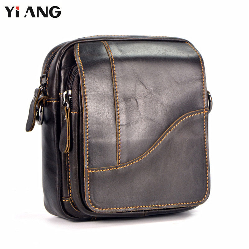 YIANG Brand First Layer Men Messenger Shoulder Bags for Men Cross Body Bag Men's Bag Fashion Business Casual Genuine Leather Bag men s leather oblique cross chest packs of the first layer of leather deer pattern men s shoulder bag korean fashion men s bag