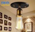 Light bulb pendant light copper iron restaurant metal light single pendant light vintage retractable ceiling lamp american style